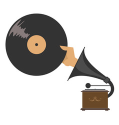 Record player hand and record isolated vector