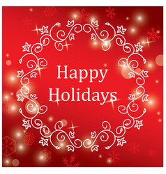 red greeting card for christmas with snowflakes vector image