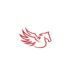 red pegasus horse logo vector image