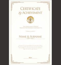 Retro vintage certificate or diploma template vector