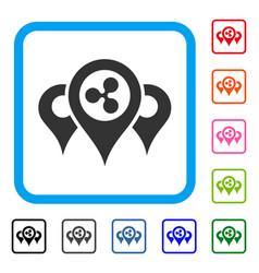 Ripple locations framed icon vector