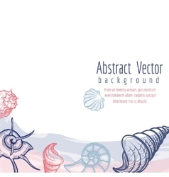 Sea shells and watercolor elements background vector image