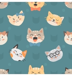 Seamless hipster cats pattern vector