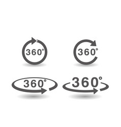 set 360 degree icon simple flat style vector image