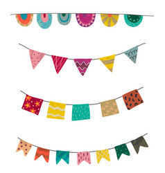 set colorful graphic bunting and garland vector image