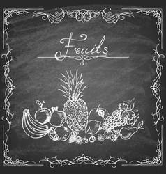 set hand drawn fruits on chalkboard vector image