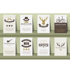 Set of brochures in vintage hipster style vector image
