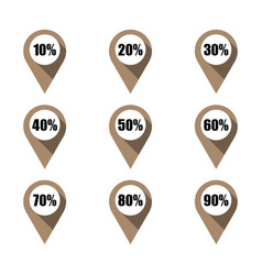 set of brown map pins with different percentage vector image