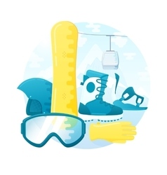 set of detailed flat snowboarding equipment vector image