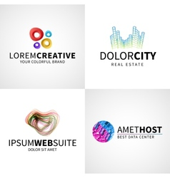 Set of modern colorful abstract creative web host vector