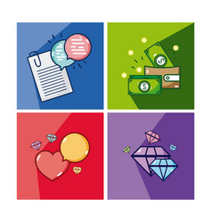 set of money and love icons vector image