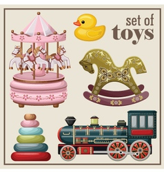 Set of vintage toys vector