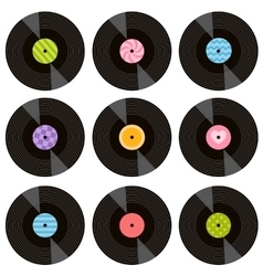 set vinil records vector image