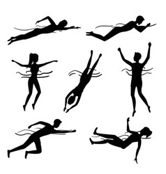silhouette black characters swimming and diving vector image