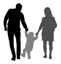 silhouette of happy family on a white background vector image