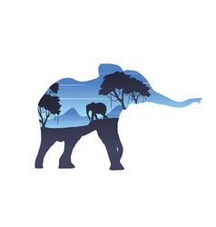 silhouette of inside elephant on the hill vector image