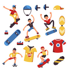 Skateboarder skateboarding sport boy on skateboard vector