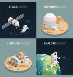 space exploration 4 isometric icons vector image