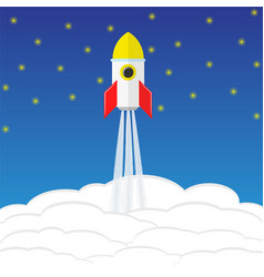 Startup concept with rocket sky and stars stock vector