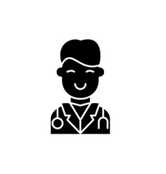surgeon black icon sign on isolated vector image