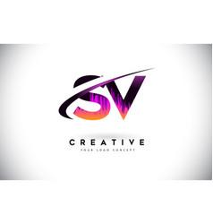 Sv s v grunge letter logo with purple vibrant vector