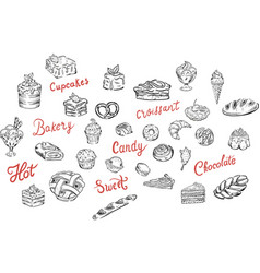 Sweets candy food set vector