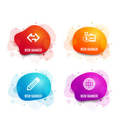 Sync pencil and salary icons seo internet sign vector