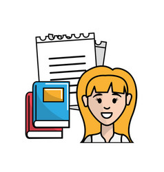 Teacher with notebook pappers and books vector