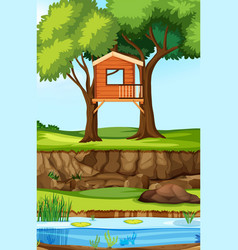 tree house in nature vector image