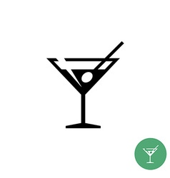 Triangle martini cocktail glass black simple icon vector