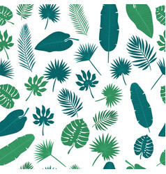 Tropical leaves seamless pattern floral jungle vector