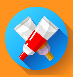 two colorful paint tubes icon vector image
