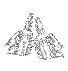 two hands holding and clinking beer bottle vector image