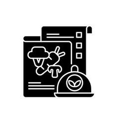 vegan menu black glyph icon vector image
