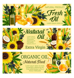 Virgin oil organic plants butter and margarine vector