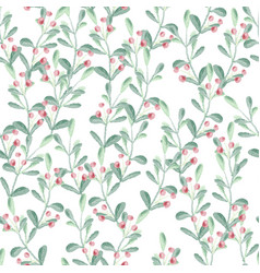 watercolor christmas berry branch seamless vector image