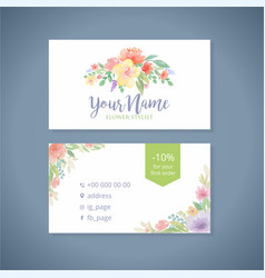 Watercolor flowers business card template2 vector