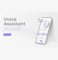 white realistic 3d smartphone voice assistant vector image