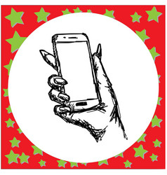 Zombie holding smartphone vector