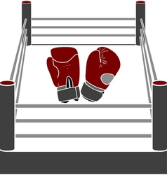 boxer ring with gloves vector image