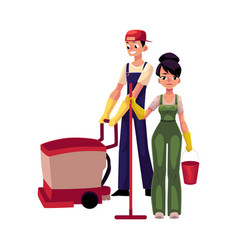 Girl with mop and bucket man using floor cleaning vector