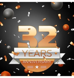 Thirty two years anniversary celebration vector image