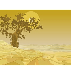 yellow landscape tree in the desert vector image