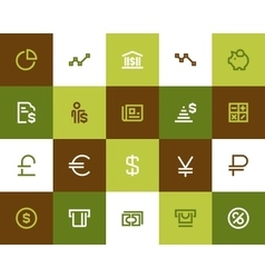 Bank and financial icons Flat style vector image vector image