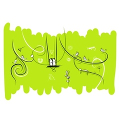 Banner with funny birds and cats for your design vector image vector image