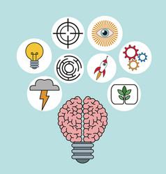 Brain bulb idea ilumination innovation vector
