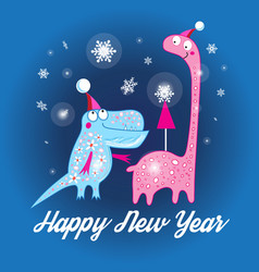 Christmas card with dinosaurs vector