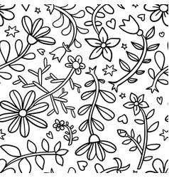 decorative graphic curly floral seamless pattern vector image