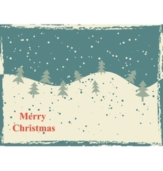Retro Christmas card with snow hills and trees vector image vector image