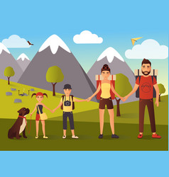 flat of happy family in the vector image